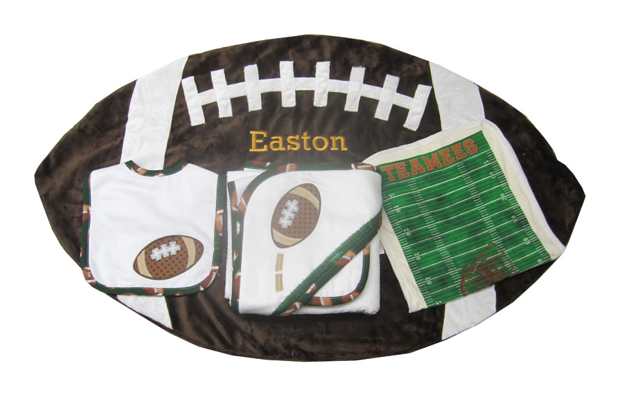Personalized baby gifts for the future star should have a sports wrap your baby in this plush handcrafted football blanket personalized football baby gifts negle Image collections